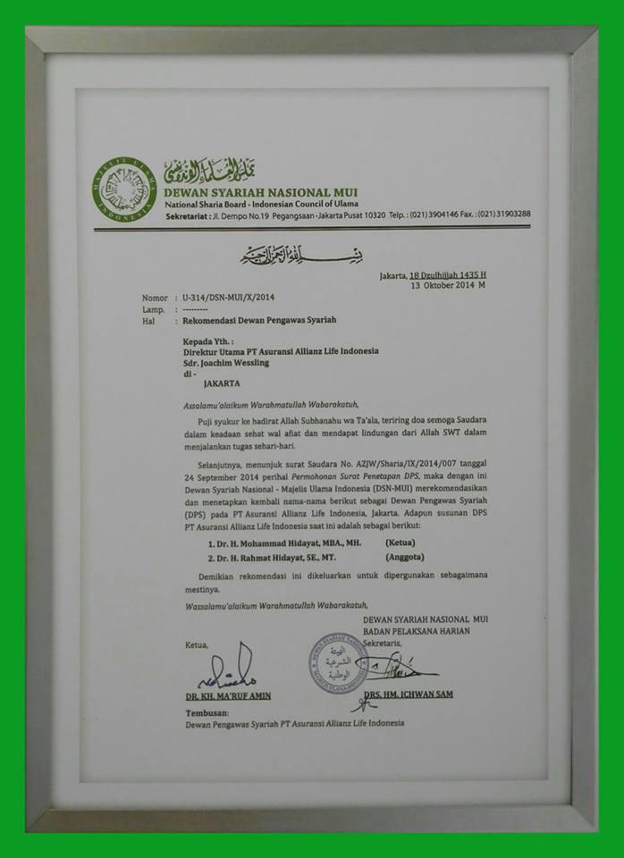 Rekomendasi Dewan Pengawas Syari'ah Majelis Ulama Indonesia untuk PT. Allianz Life Indonesia